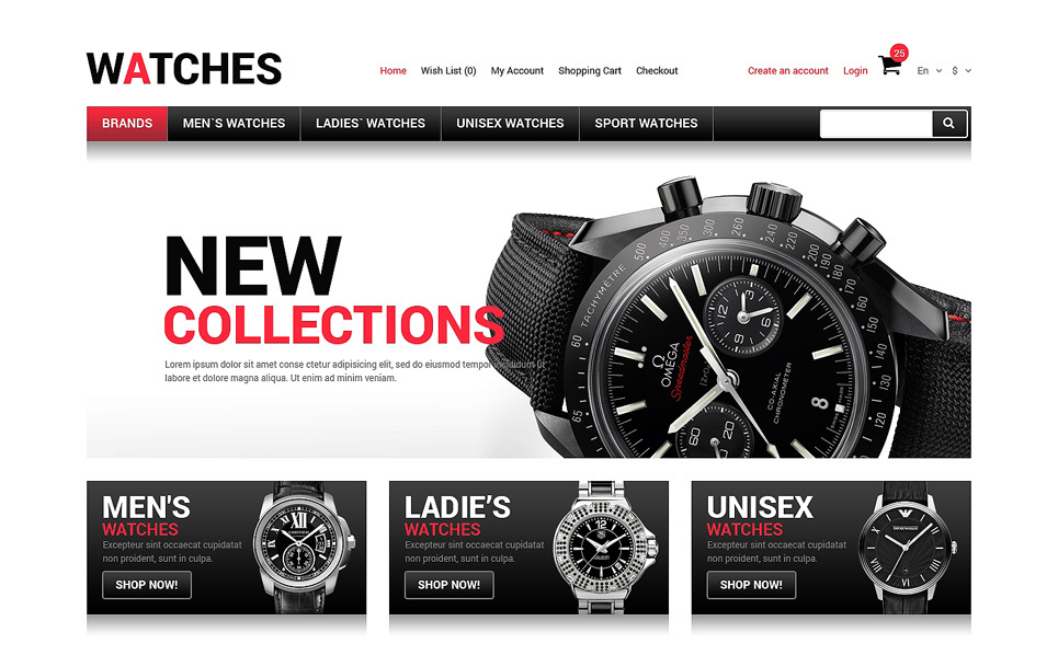 Responsive OpenCart Template over Horloges  New Screenshots BIG