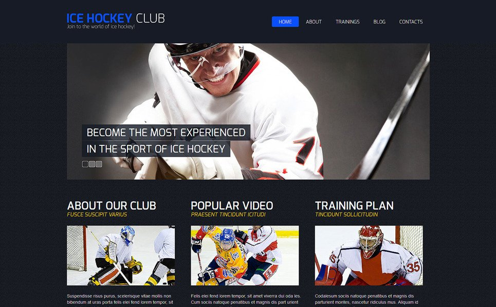 Responsive Joomla Template over Hockey New Screenshots BIG