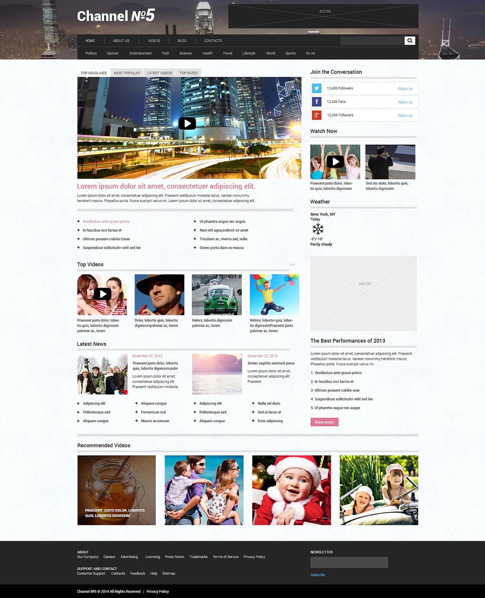 Адаптивный шаблон сайта на тему тв канал #48633