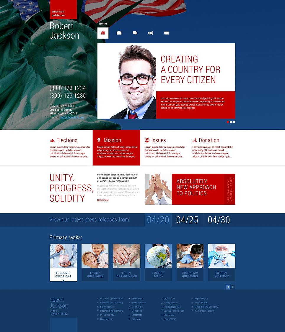 Адаптивный шаблон сайта на тему политический кандидат #48674