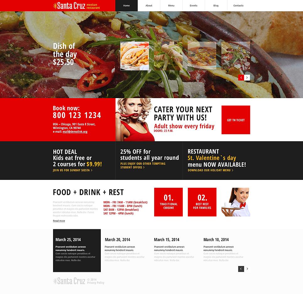 Адаптивный шаблон сайта на тему мексиканский ресторан #48677
