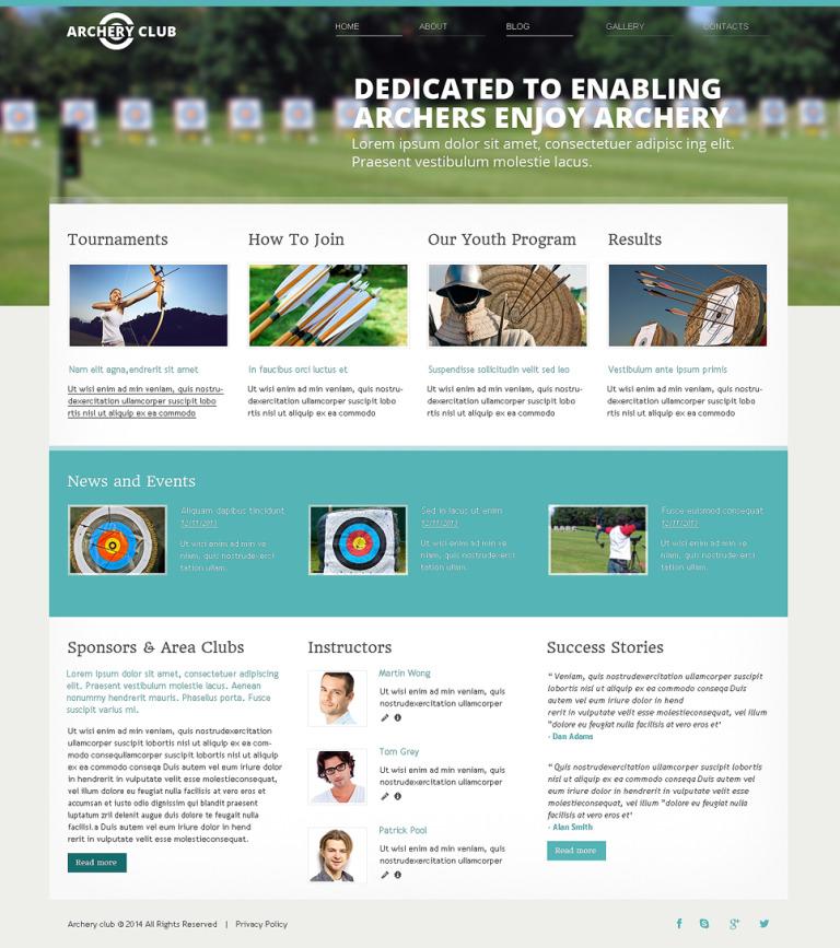 Archery Responsive Website Template New Screenshots BIG