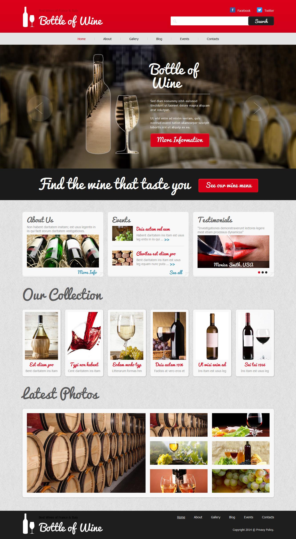 """""""Bottle of Wine - Wine Elegant"""" thème Joomla adaptatif #48696"""