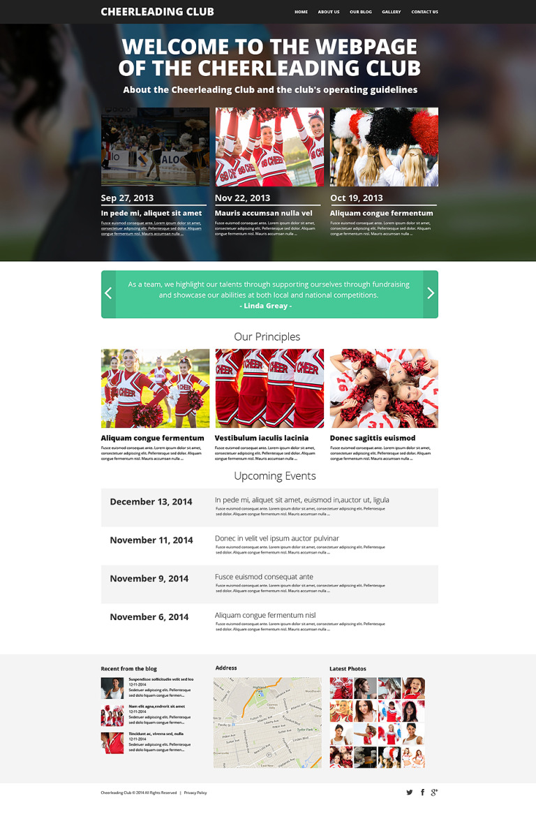 Cheerleading Club Drupal Template New Screenshots BIG