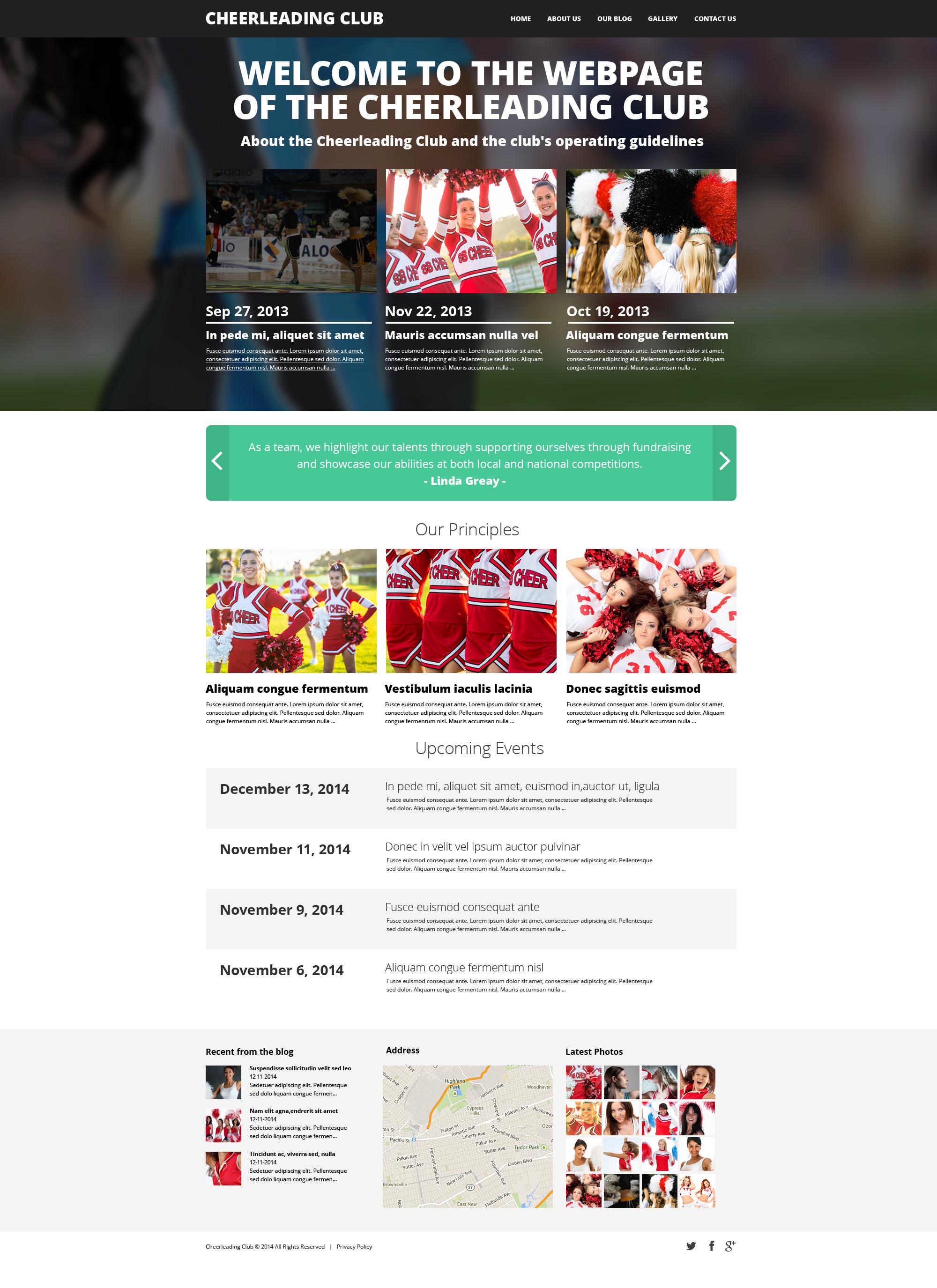 Cheerleading Club Template Drupal №48613 - captura de tela