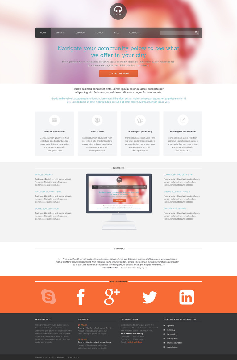 Communications Responsive WordPress Theme New Screenshots BIG