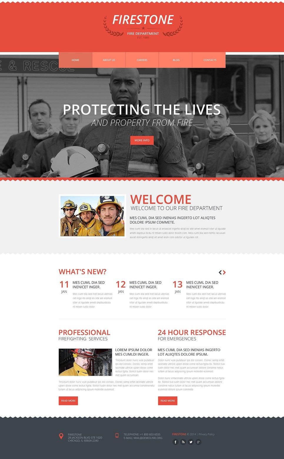 fire department responsive website template  48647