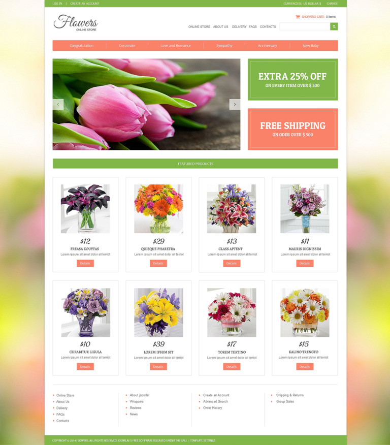 Flower Shop VirtueMart Template New Screenshots BIG