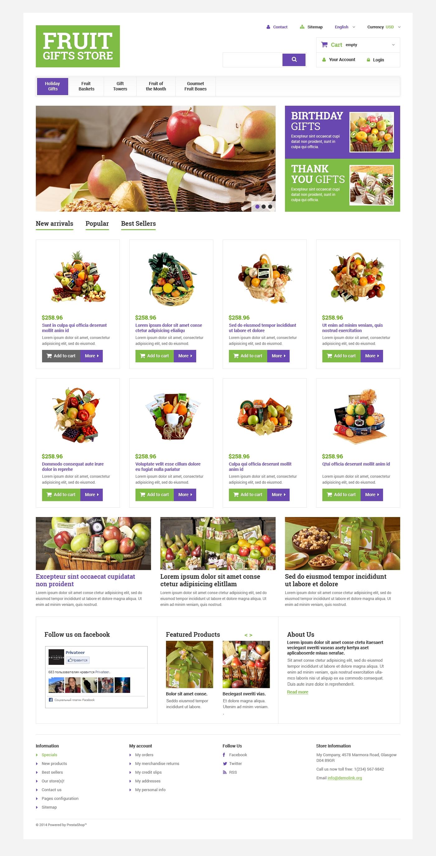 """Fruit Gift Baskets"" - адаптивний PrestaShop шаблон №48661"