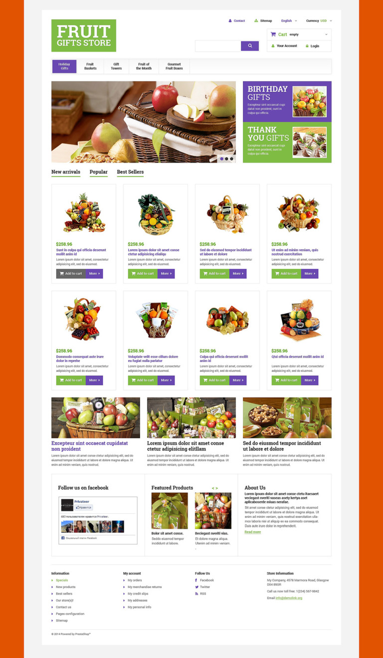 Fruit Gift Baskets PrestaShop Theme New Screenshots BIG