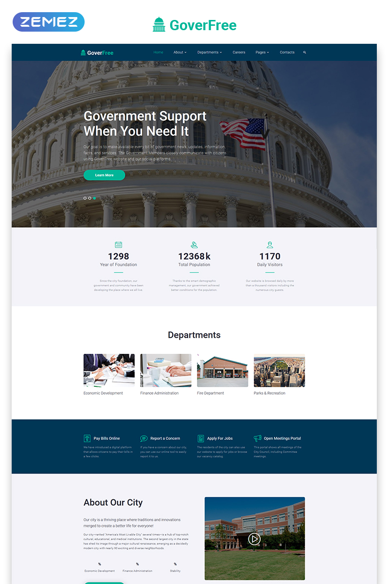 GoverFree - Government Multipage Clean HTML Template Web №48697 - captura de tela