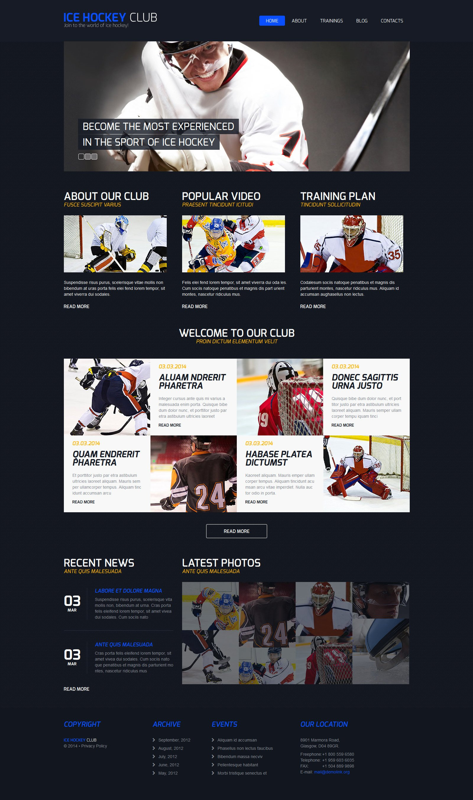 Hockey Responsive Joomla Template - screenshot