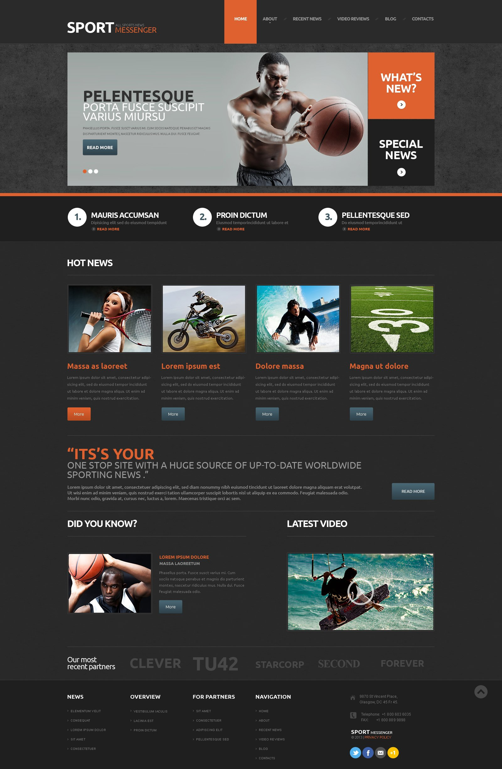 Modello WordPress Responsive #48602 per Un Sito di Notizie Sportive