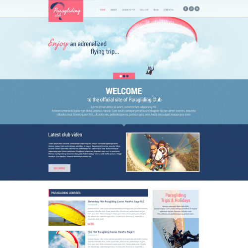 Paragliding - WordPress Template based on Bootstrap