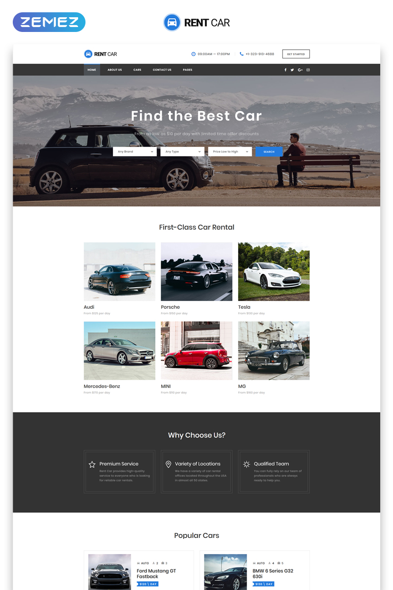 """Rent Car - Well-Thought-Out Car Rental Multipage HTML"" modèle web adaptatif #48656 - screenshot"