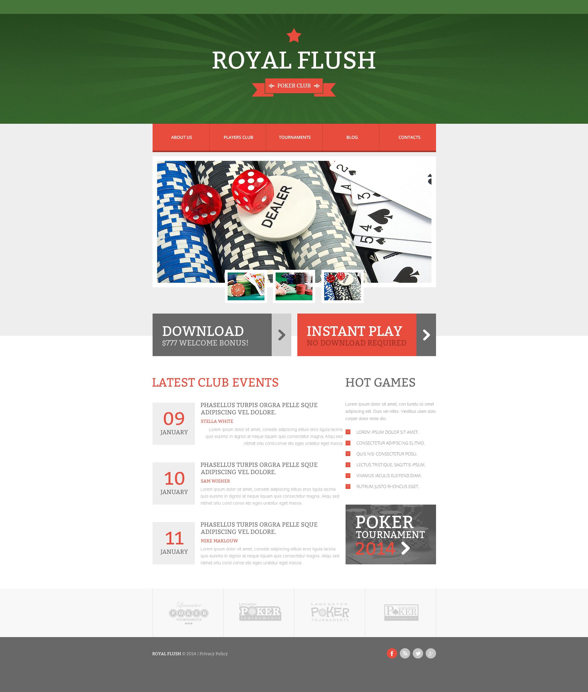 Responsive Website Vorlage für Online Poker #48666 - Screenshot