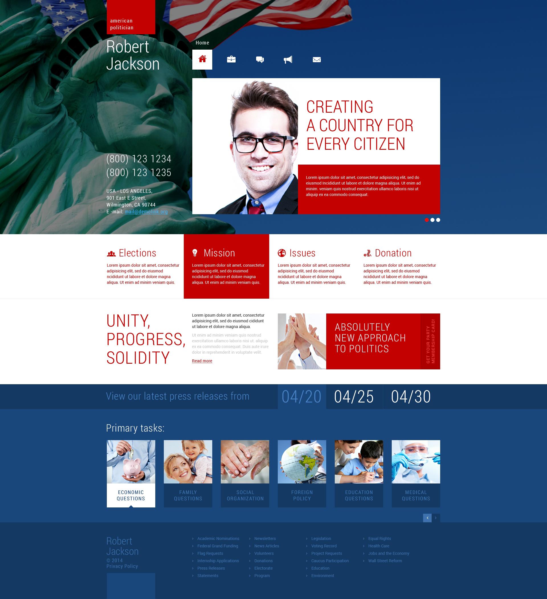 Responsive WordPress thema over Politieke kandidaat №48674