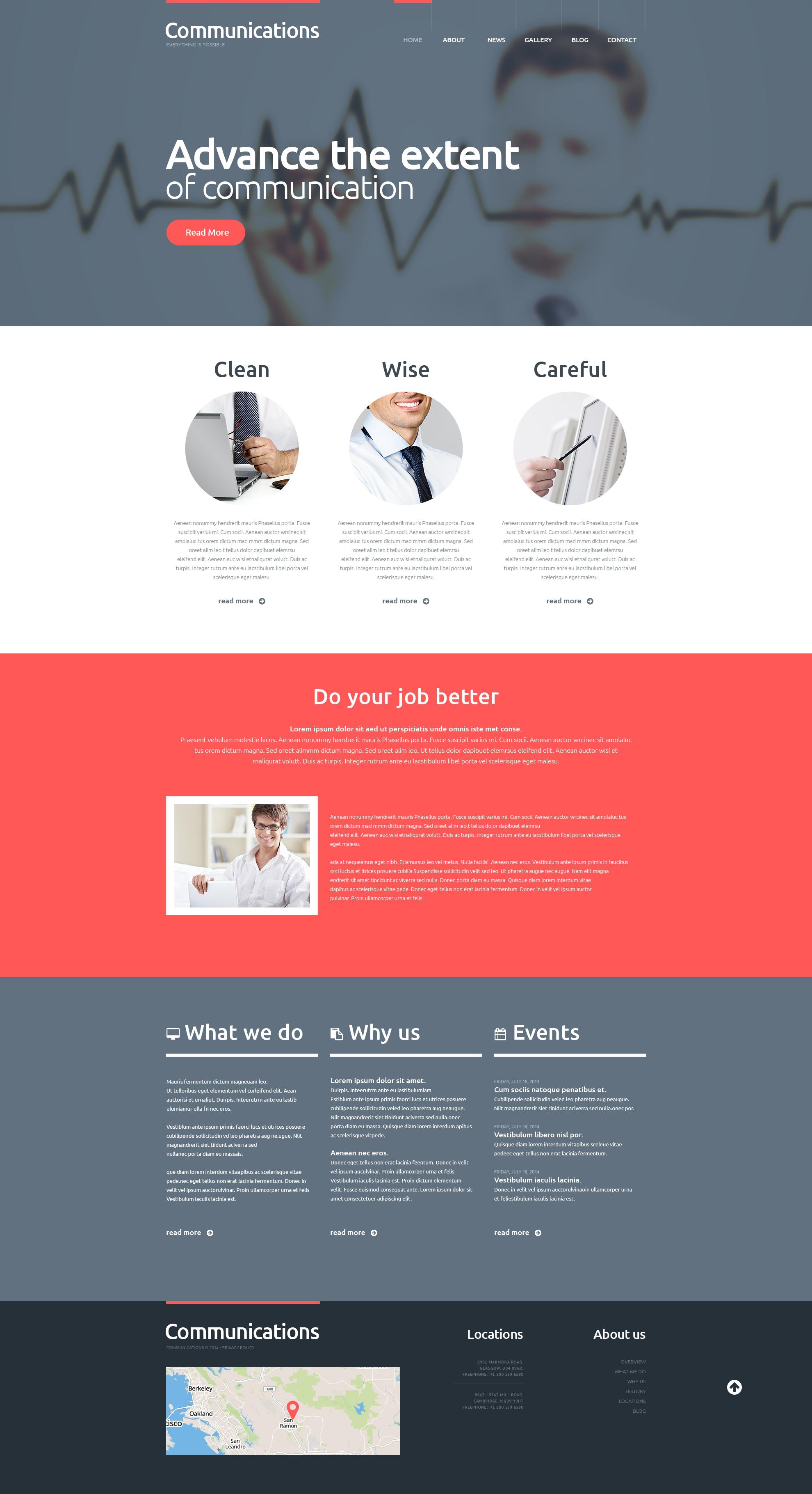 Responsywny motyw WordPress #48606 na temat: komunikacja - zrzut ekranu