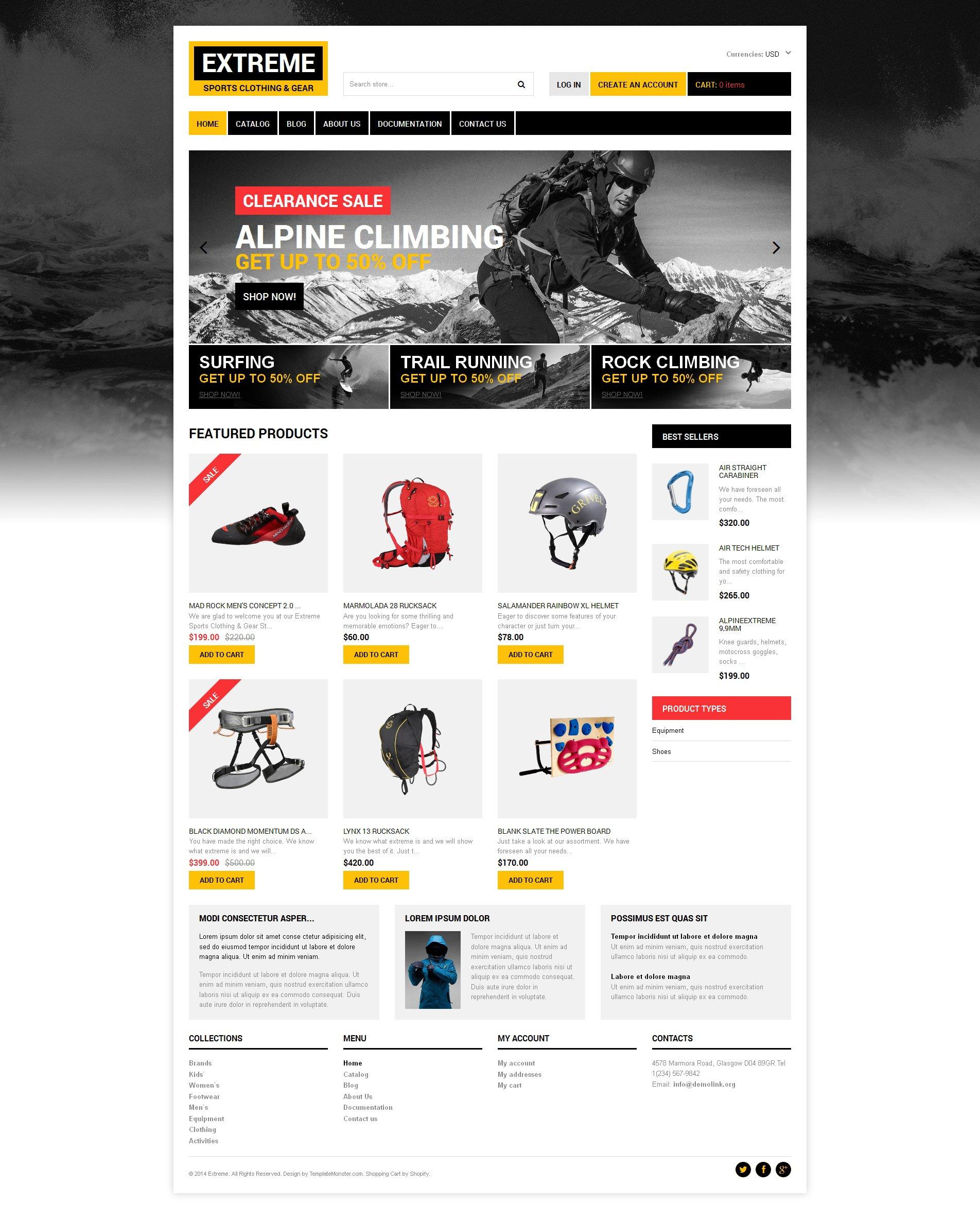 Responsywny szablon Shopify #48616 na temat: sporty ekstremalne