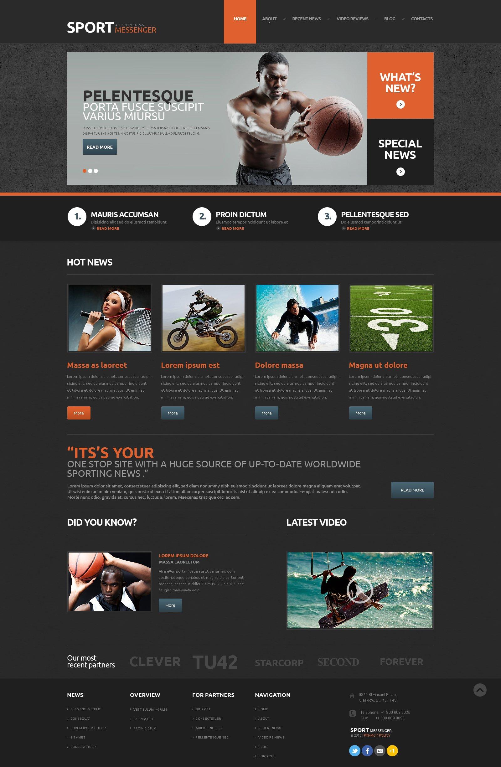 Reszponzív Sport hír WordPress sablon 48602
