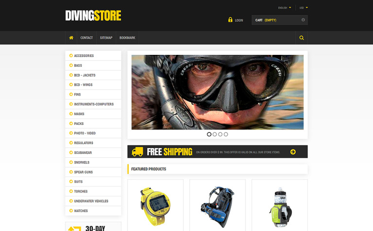 Scuba Diving Equipment PrestaShop Theme