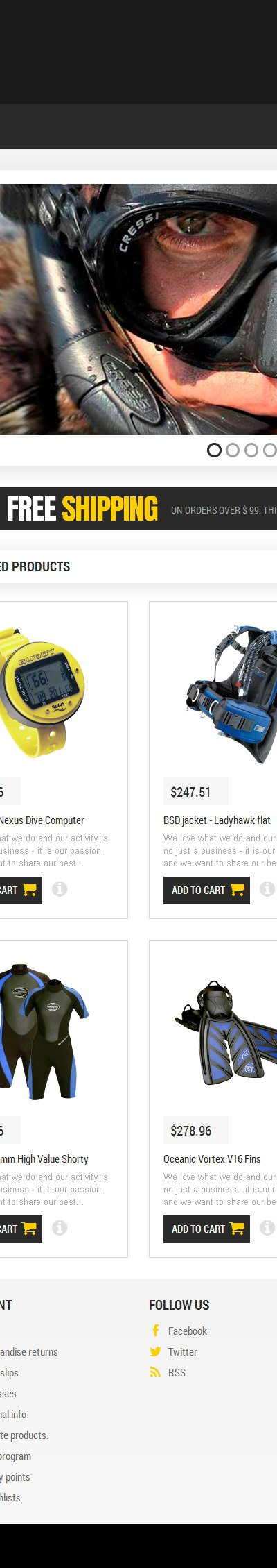 Scuba Diving Equipment PrestaShop Theme