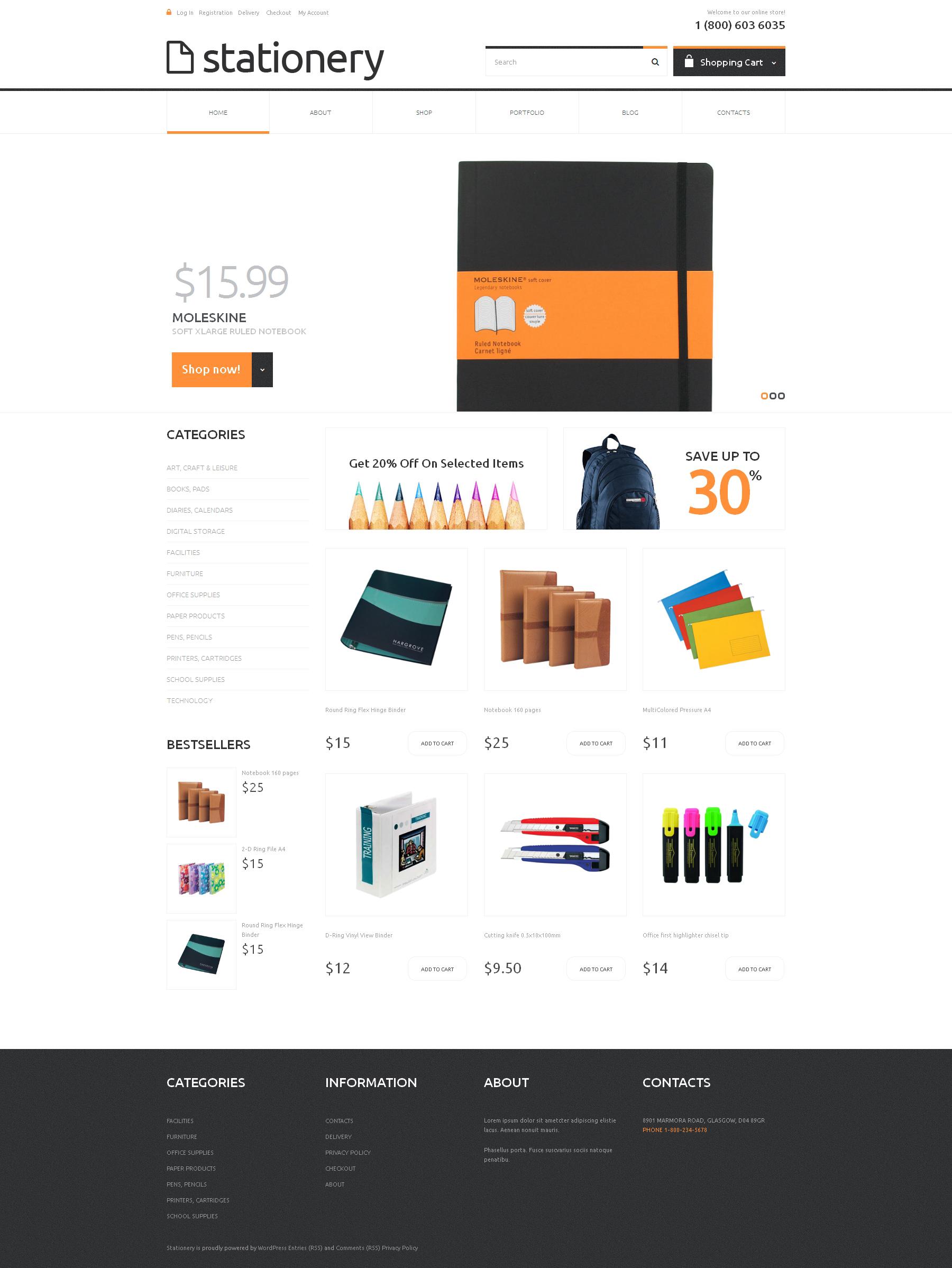 Stationery Responsive WooCommerce Theme - screenshot