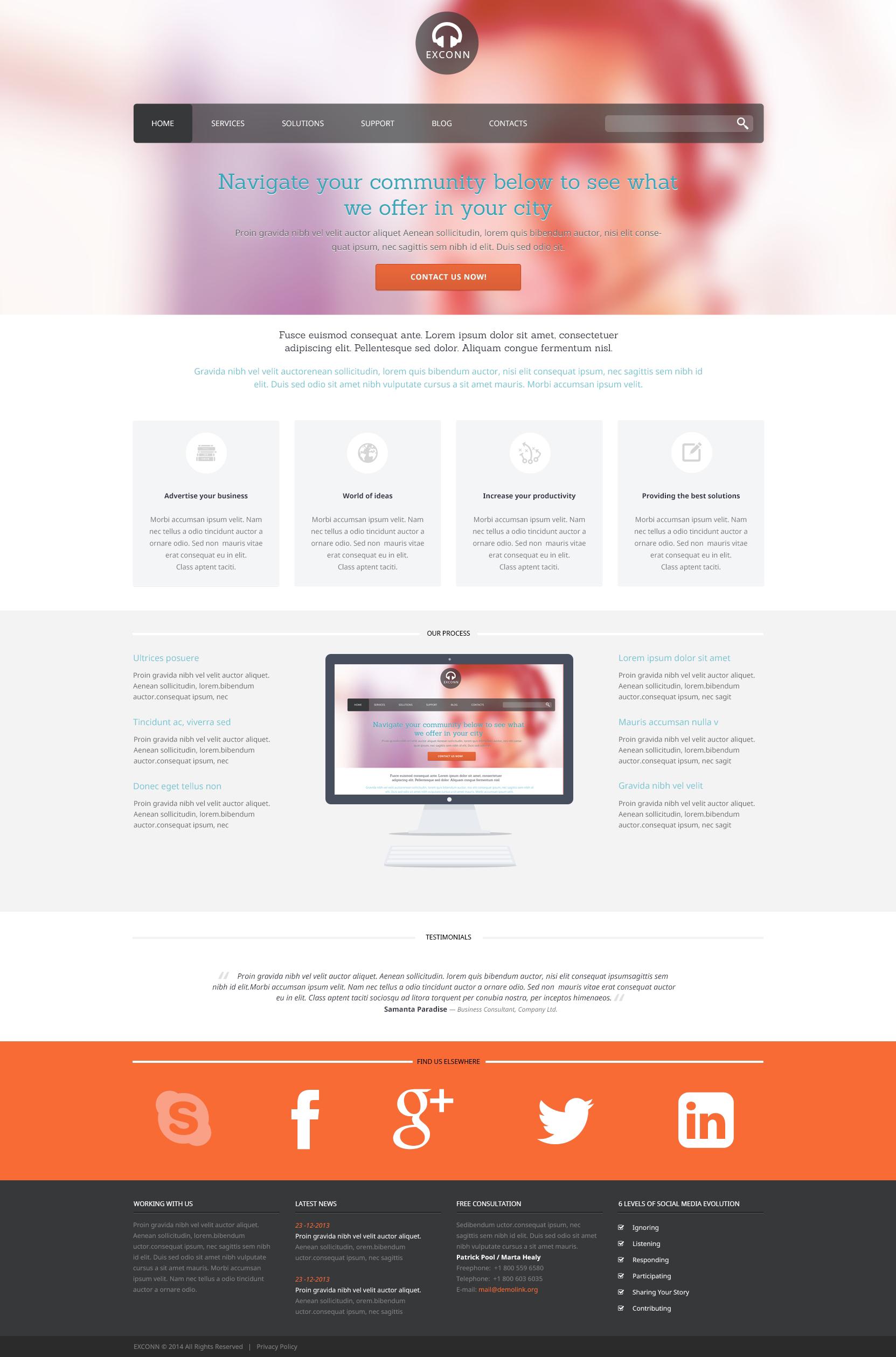 Template WordPress Responsive #48634 per Un Sito di Comunicazioni - screenshot