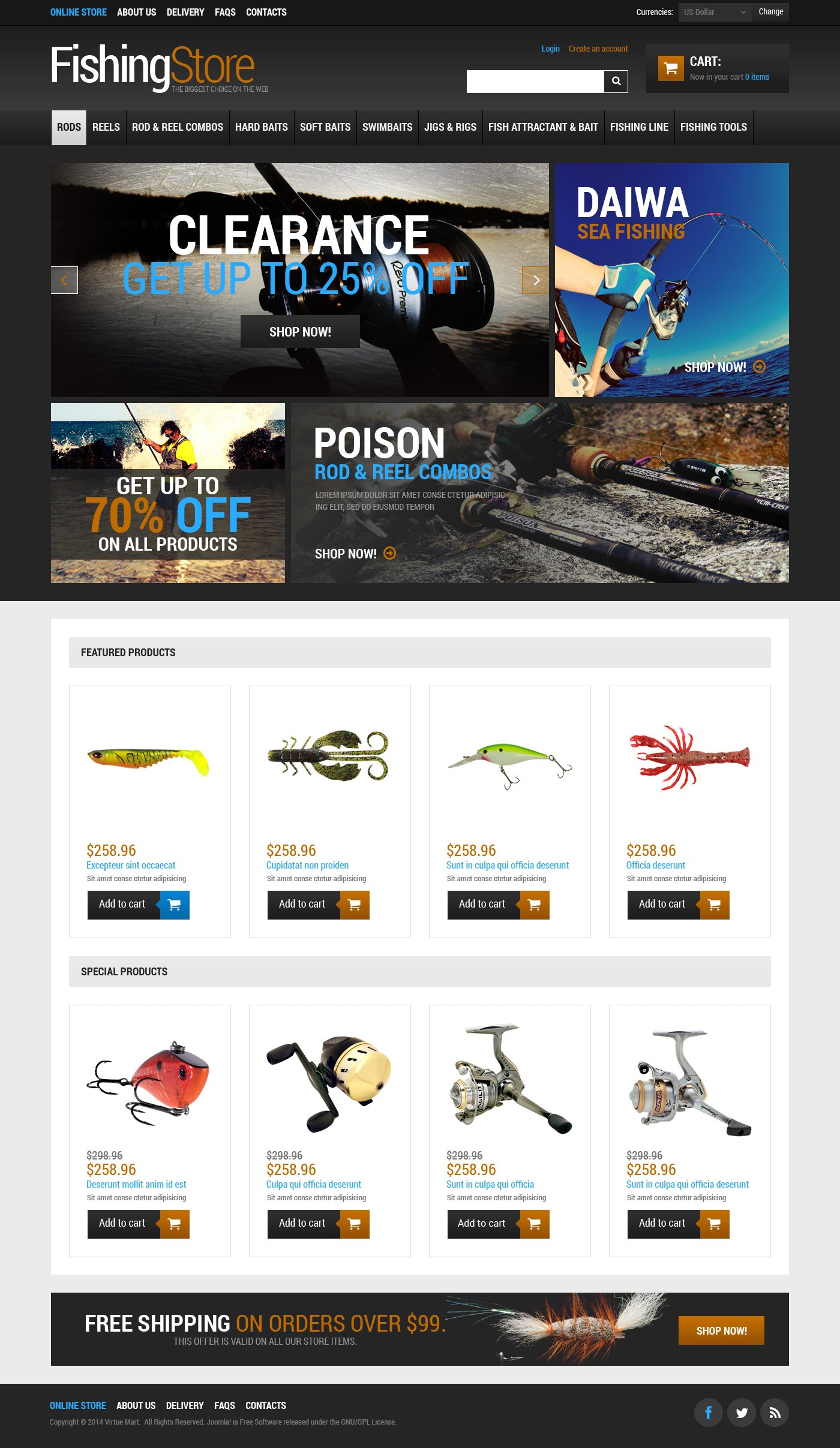 VirtueMart шаблон №48654 на тему рыбалка - скриншот