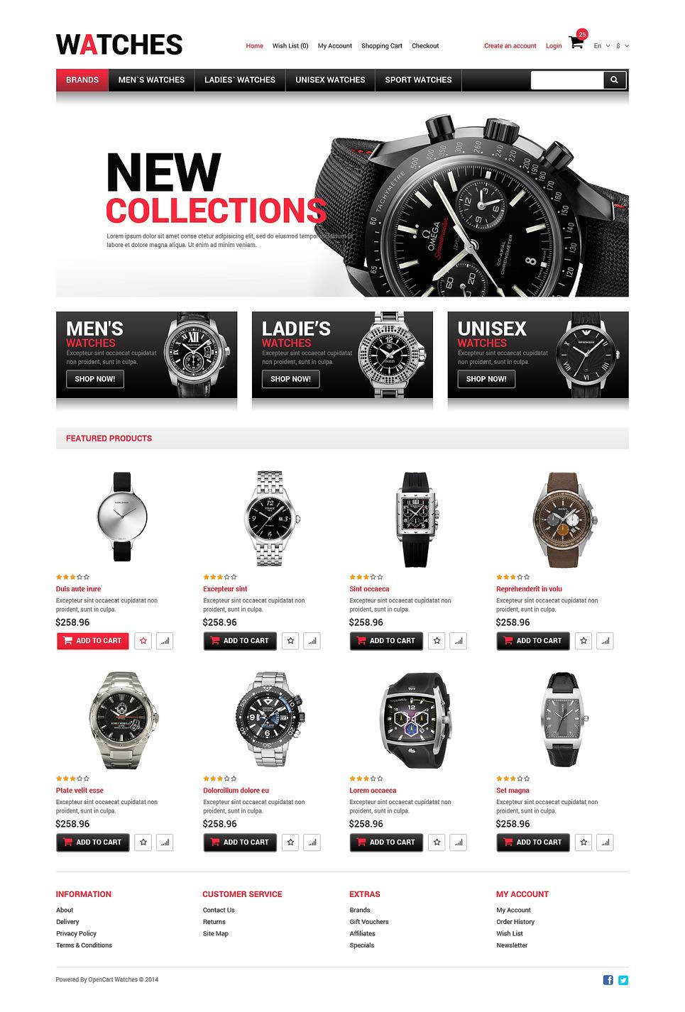 Watches Responsive OpenCart Template New Screenshots BIG