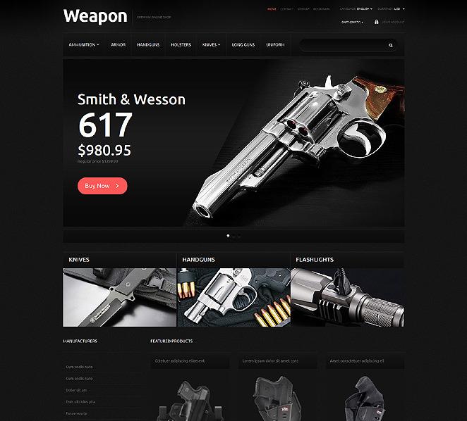 Responzivní PrestaShop motiv na téma Prodejna zbraně New Screenshots BIG