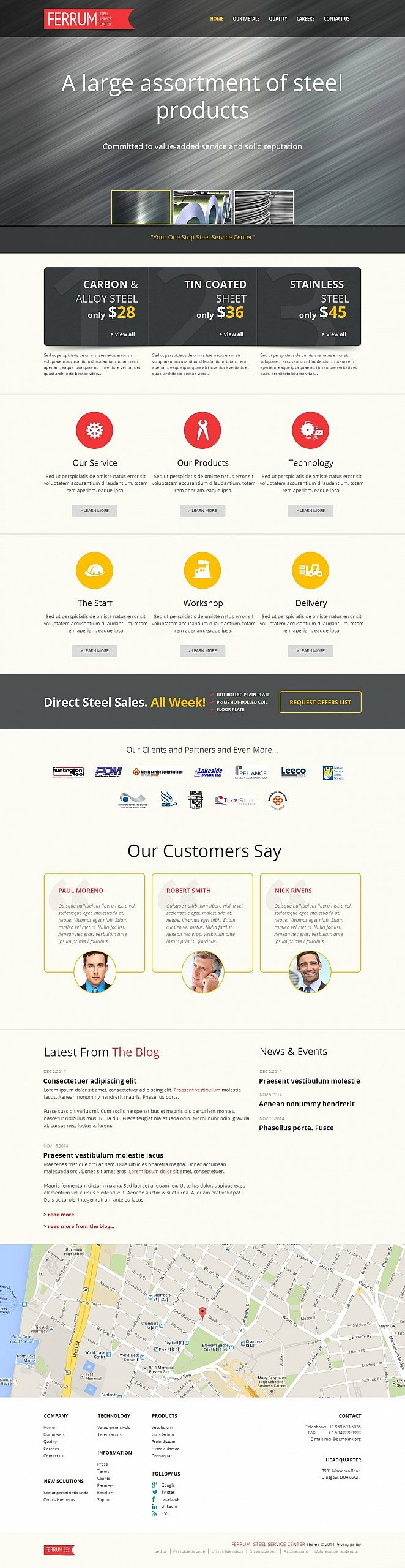 Steel Service Center Website Template with Creative Homepage Design - image