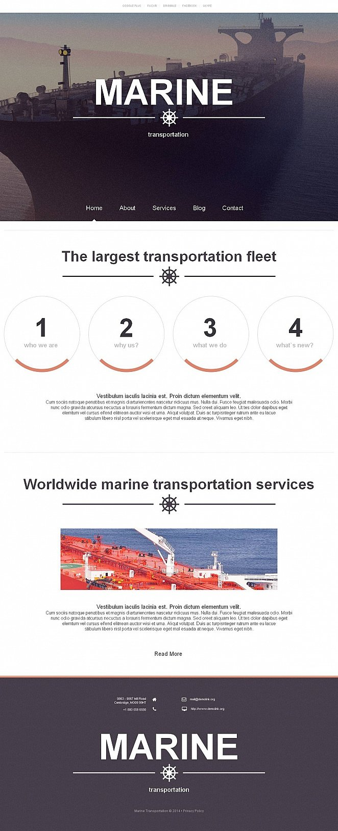 Marine Transportation Website Template with Large Header Image - image