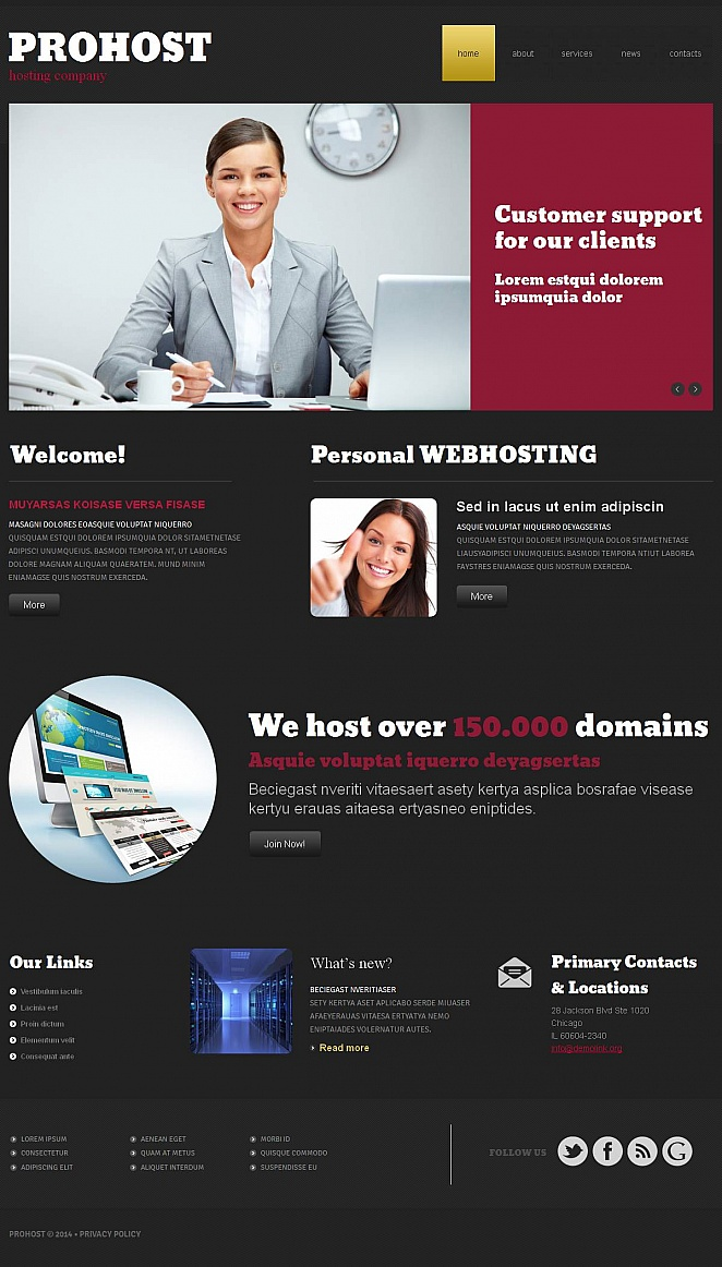 Hosting Company Website Template with Black Background - image