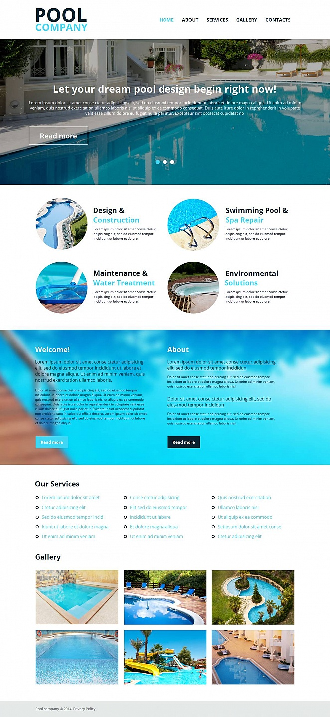 Pool Company Web Template on White Background - image