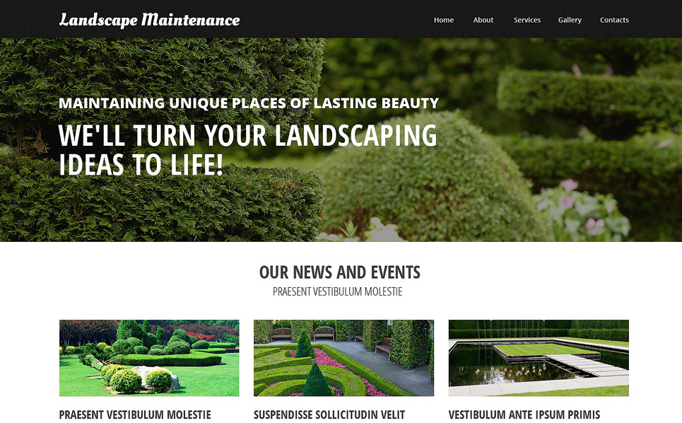 Plantilla Web Responsive para Sitio de Diseño de paisaje New Screenshots BIG