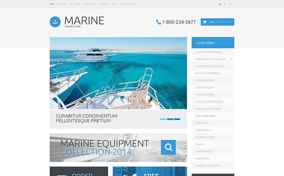 Modello OpenCart Responsive #48755 per Un Sito di Yachting New Screenshots BIG