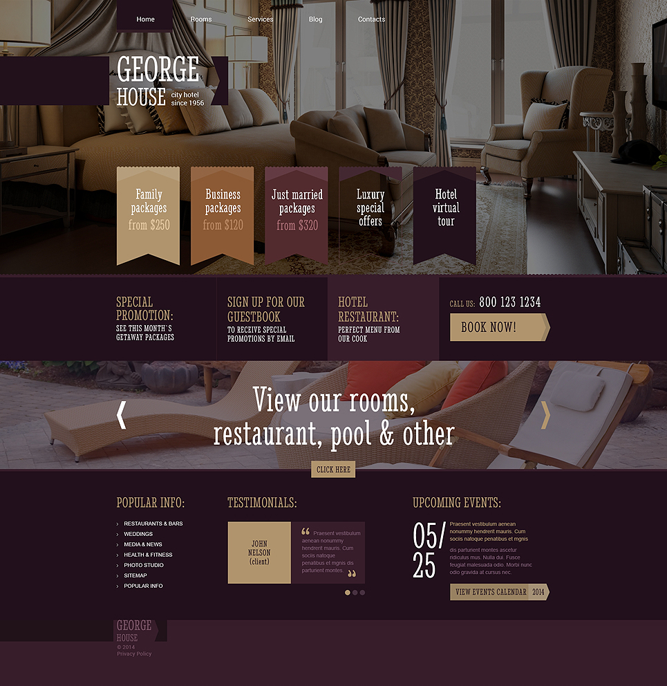 Адаптивный шаблон сайта на тему отели #48707