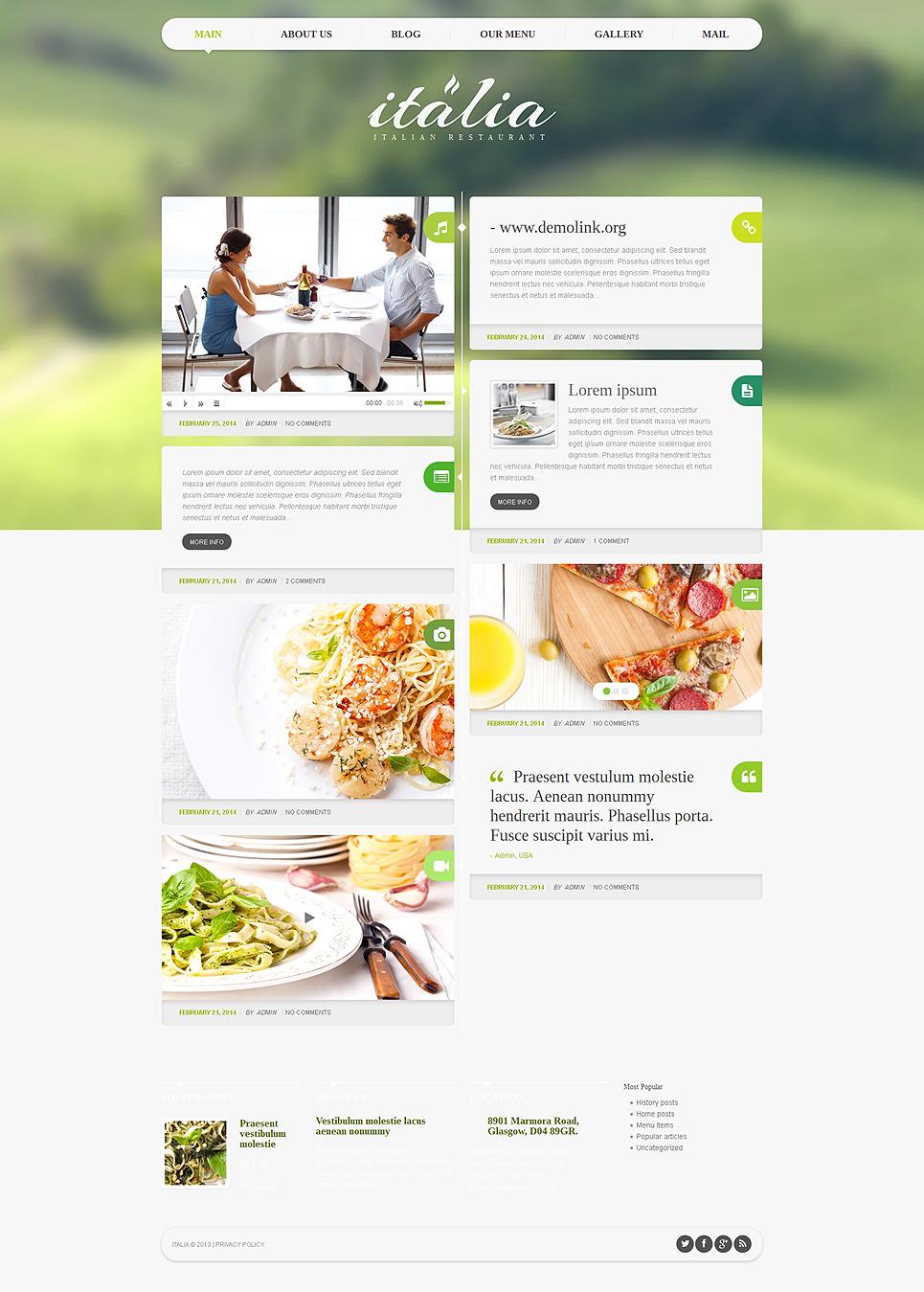 Адаптивный шаблон сайта на тему итальянский ресторан #48708
