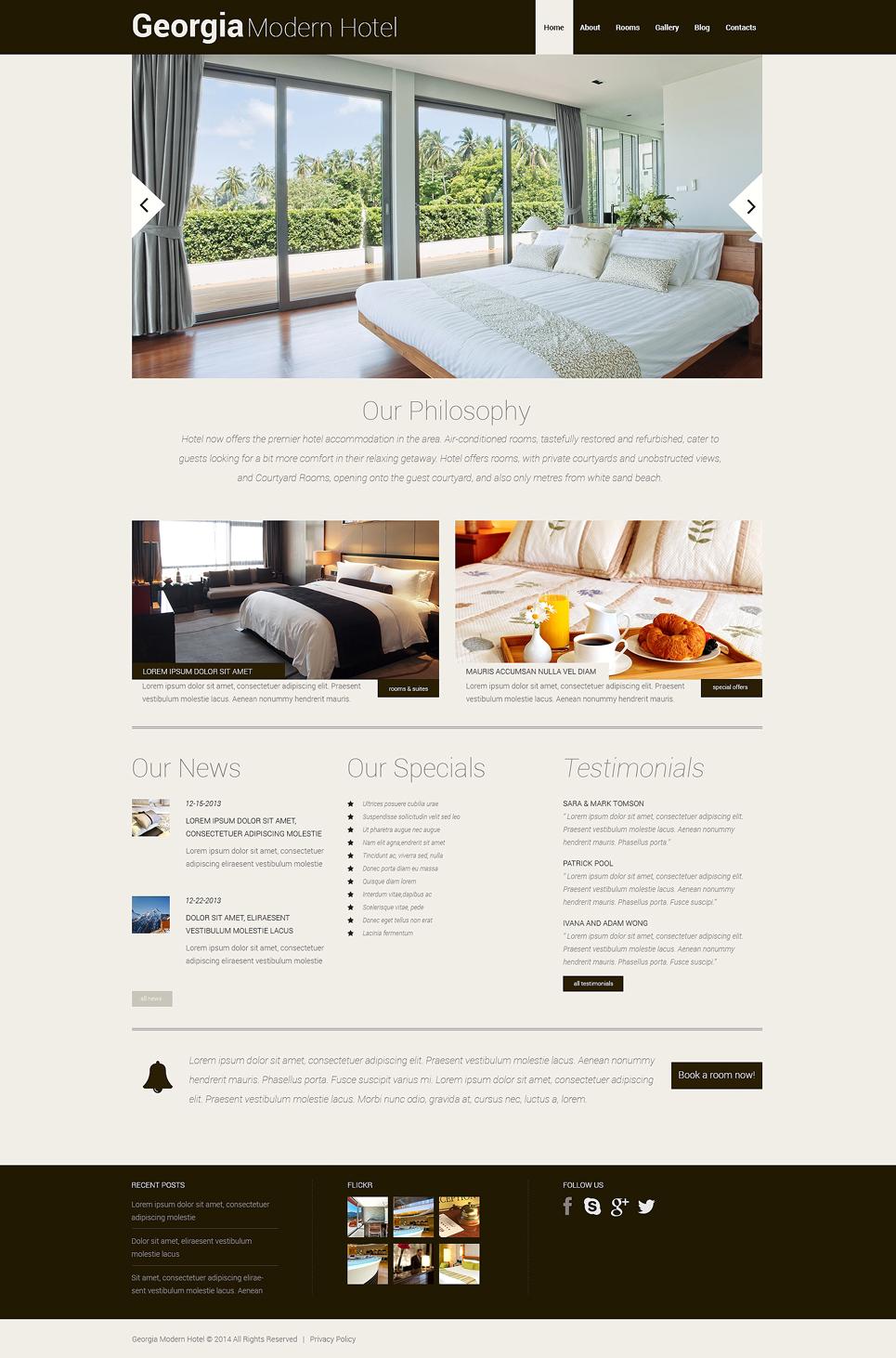 Адаптивный шаблон сайта на тему отели #48744