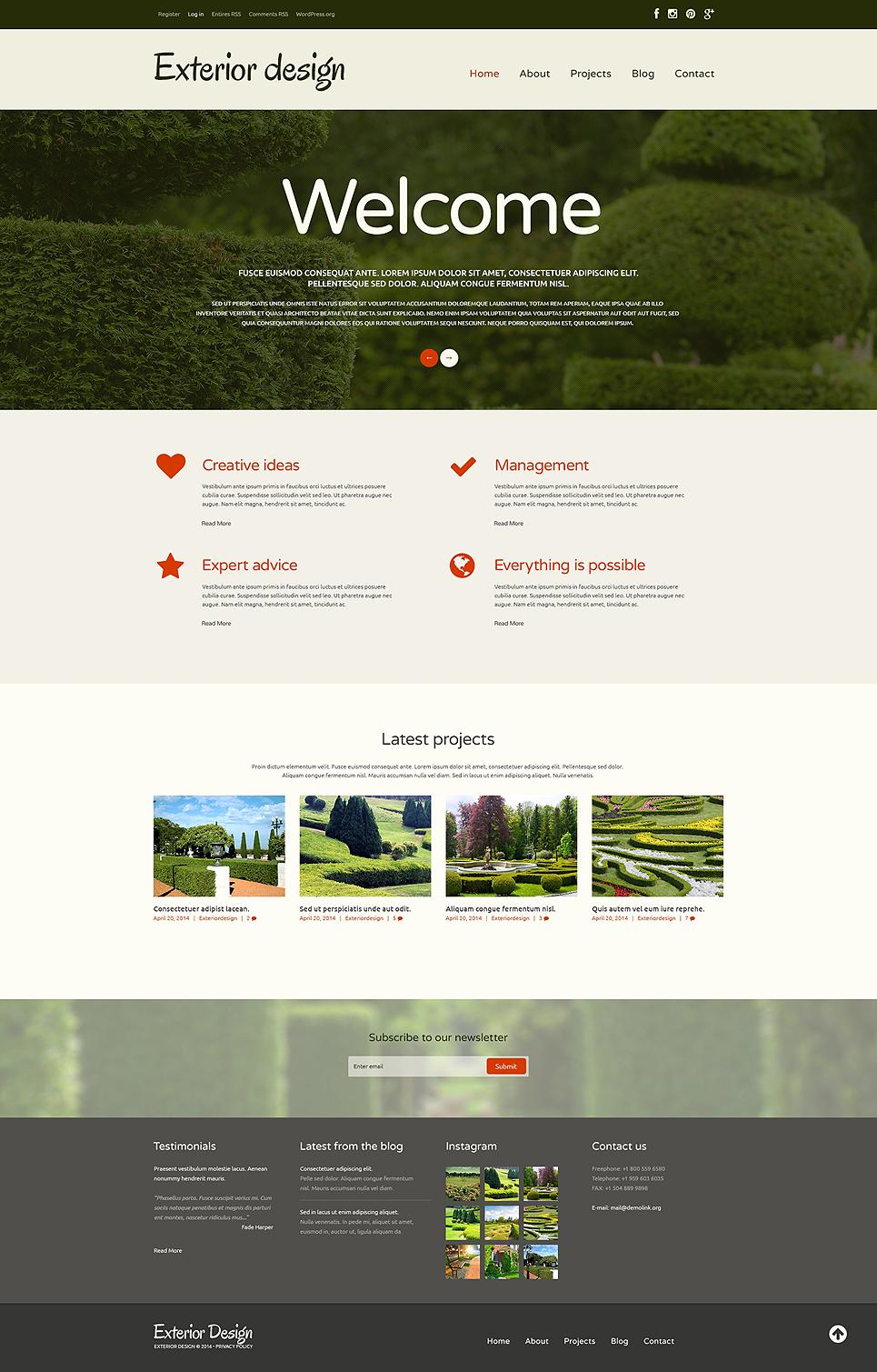 Адаптивный шаблон сайта на тему садовый дизайн #48779