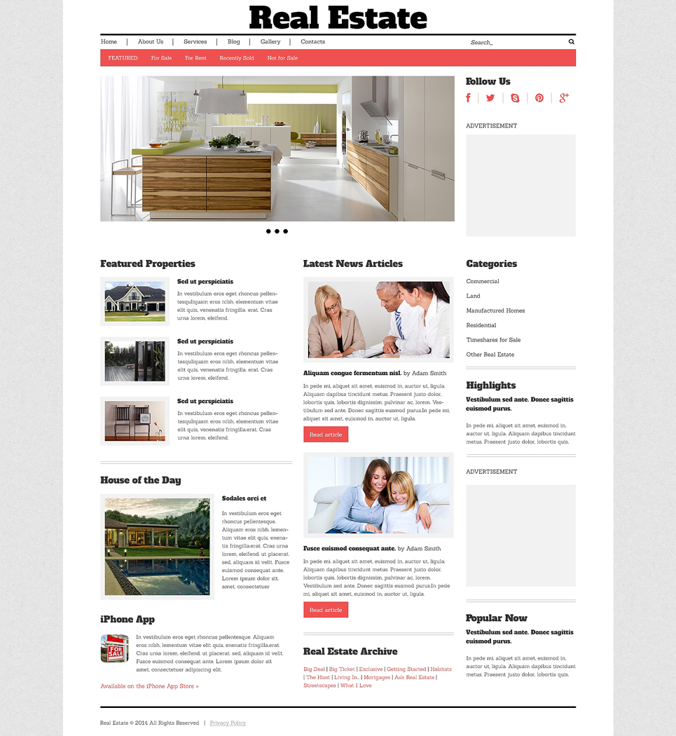 Адаптивный шаблон сайта на тему агентство недвижимости #48783