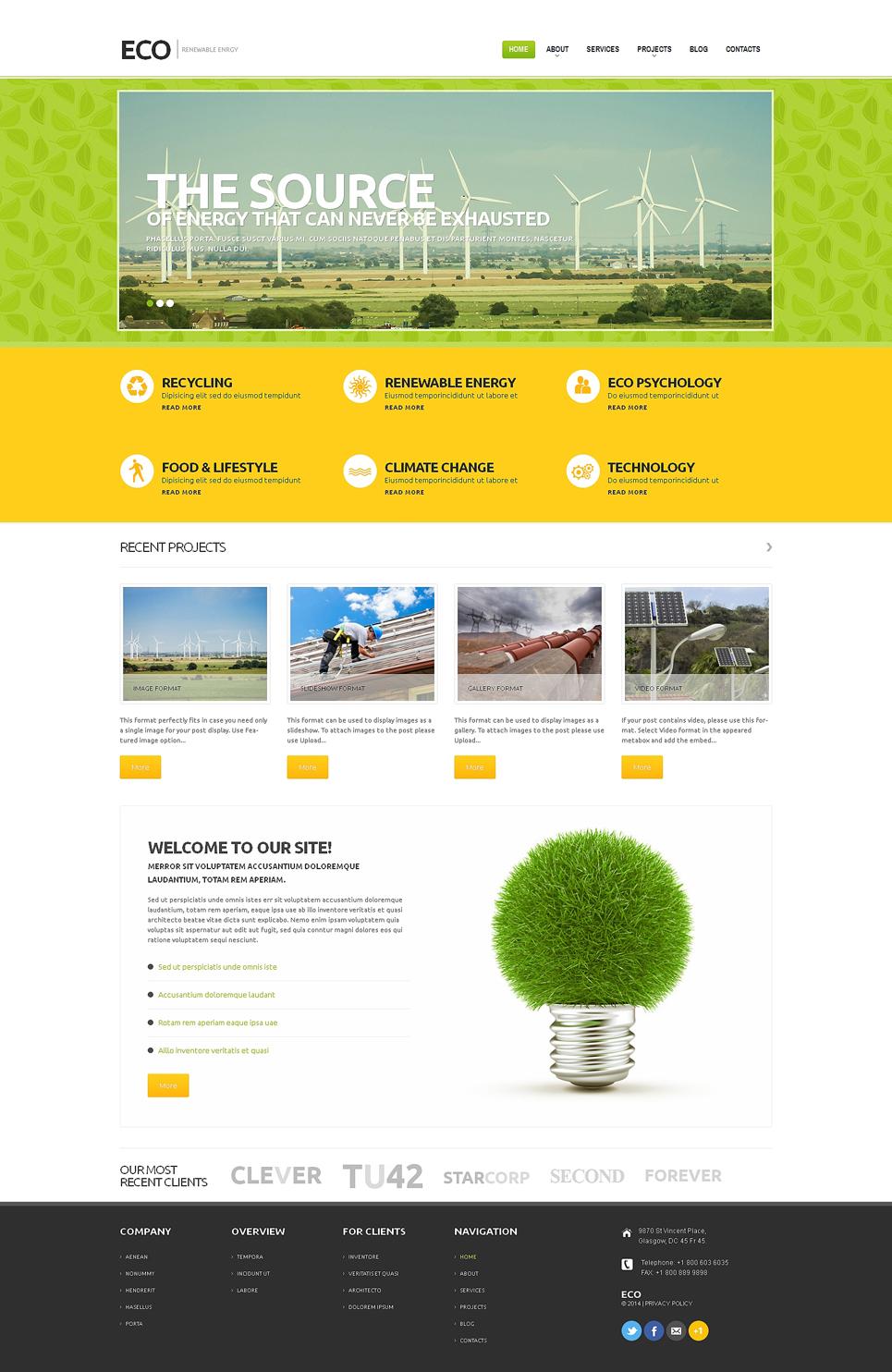 Адаптивный шаблон сайта на тему ветряная энергия #48785