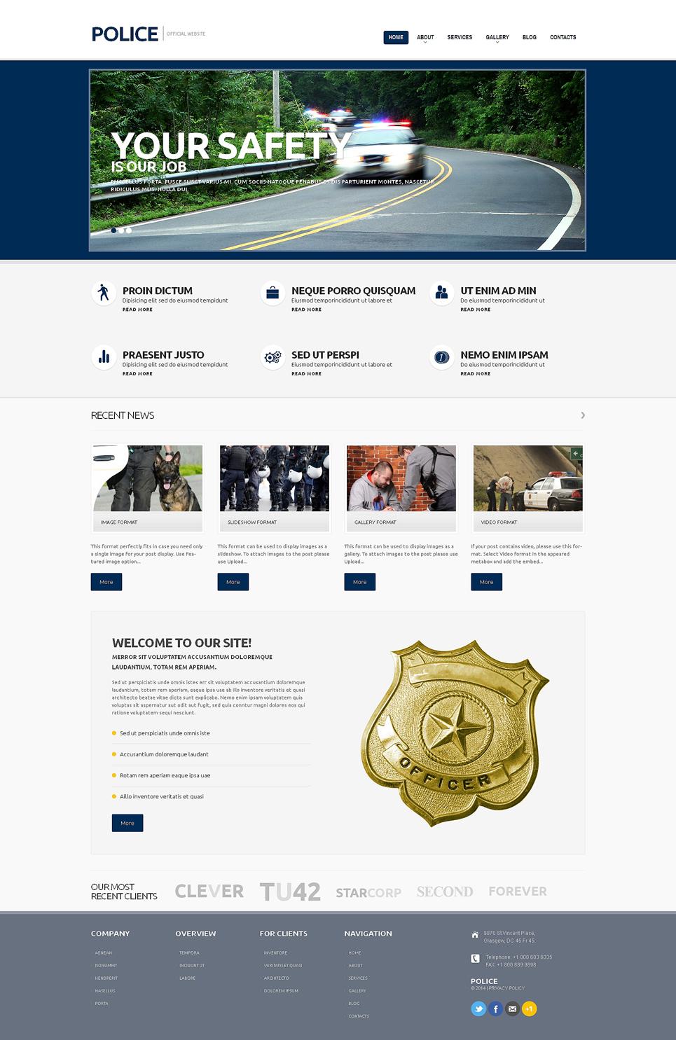 Адаптивный шаблон сайта на тему полиция #48787