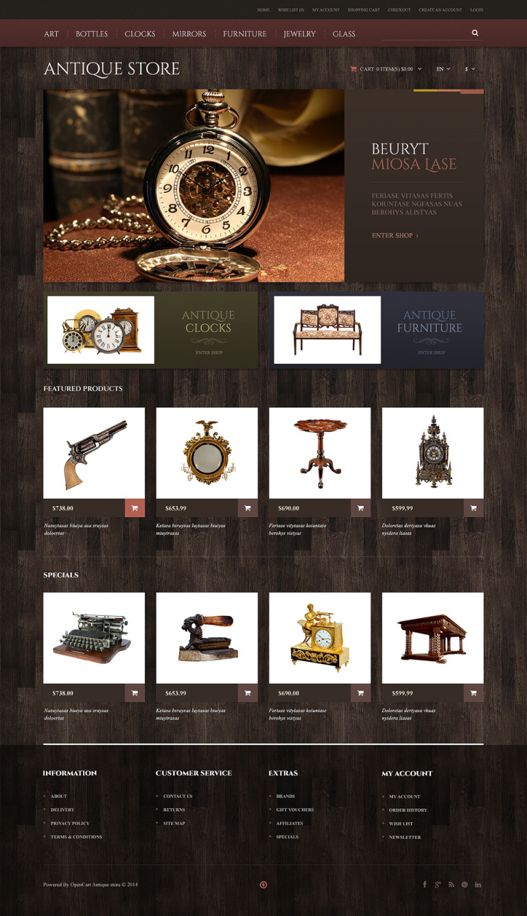 Antique Store Responsive OpenCart Template New Screenshots BIG