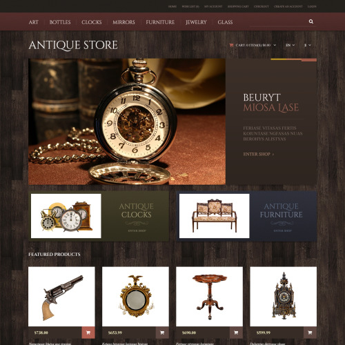 Antique Store - OpenCart Template based on Bootstrap