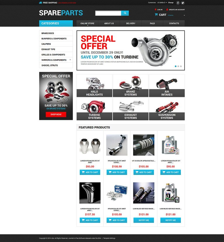 Auto Parts VirtueMart Template New Screenshots BIG