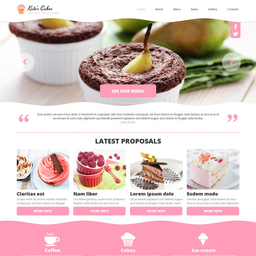 Kate's Cakes - Joomla! Template based on Bootstrap