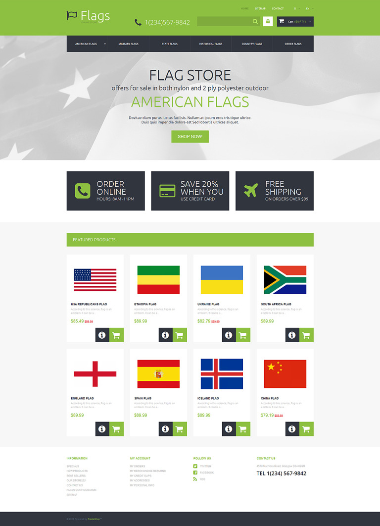 Flags for True Patriots PrestaShop Theme New Screenshots BIG