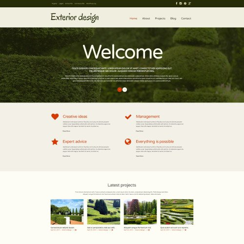 Exterior Design - WordPress Template based on Bootstrap